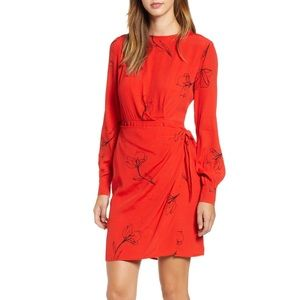 ASTR the Label Apron Front Wrap Dress, Red S